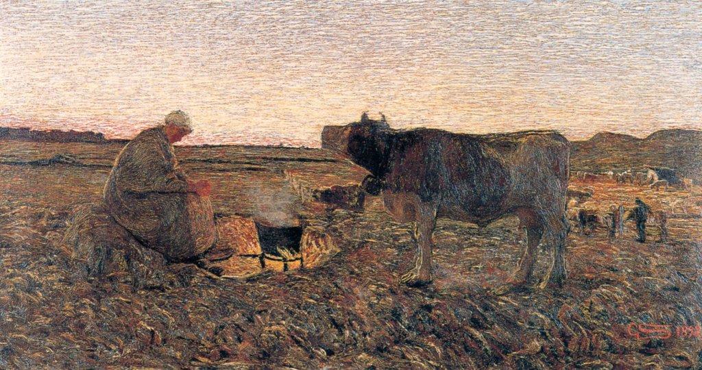 Giovanni Segantini - L'Ora mesta, (1892). Collezione privata in deposito alla Galleria Civica G. Segantini di Arco